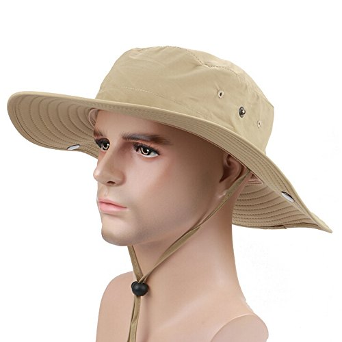 Ezyoutdoor Outdoor Collapsible Quick-dry Fishing Hat Wide Brim Boonie Cap Cowboy Bucket Hat with Chin Cord for Fishing Hunting Camping Swimming Hiking,One Size (Easy Homemade Cowboy Costumes)