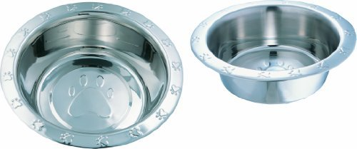 Indipets Wide Rim Paw Embossed Dog Bowl (16 Ounce)