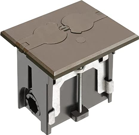 for Installed Floors White Arlington FLBAF101W-1 Adjustable Floor Box Kit with Outlet and Flip Plate 1-Gang 1-Pack