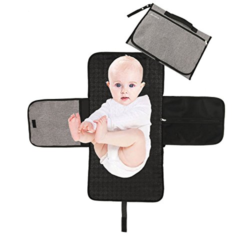 Bemece Portable Diaper Changing Pad, Wipeable Foldable Waterproof Infant Baby Toddler Changing Station Kit with Head Cushion for Travel Home – Grey Black