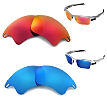Walleva Polarized Fire Red + Ice Blue Lenses For Oakley Fast Jacket XL
