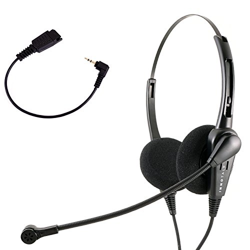 InnoTalk 2.5 mm Headset with Quick Disconnect Cord compatible with Jabra QD - Economic Binaural headset + 2.5 mm 8