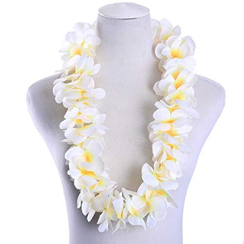 Pack of 4 Hawaiian Leis Necklace Tropical Luau Hawaii Wreaths Silk Flower Lei Thickened Dance Garland Flower Leis for Party Favor Hula Hawaiian Party Supplies (White, 4)]()