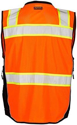 ML Kishigo Orange Size Large Premium Black Series Surveyors Vest