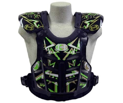 HRP Flak Jak IMS RC Motocross Chest Protector Black Green Gold Roost Deflector (Xlarge (190-240 lbs)