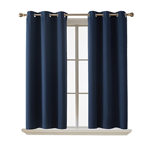 Deconovo Room Darkening Grommet Curtain Panel Thermal Insulated Curtains For Living Room 42X45 Inch Navy Blue One Pair