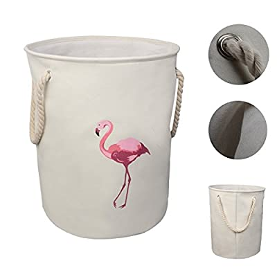 "Caroeas Laundry Basket Extra Large 21.6"" Flamingo Laundry Hamper 3 Thicken Layer Canvas Storage Bag Round Laundry Basket Thick Bag Zakka Stoarge Organizer - 【Tropic Affair】The basket is multi-functional, decorating your home meanwhile saving space by organizing all your stuff in good condition. White background with flamingo pattern, trendy and stylish to paired with your home theme. 【Large Capacity】: 15.35'x21.65"", capacity 62lbs around, a very suitable size for any use. 【3 Trick Layers】: Thick canvas with moisture-proof cover, Inside cotton linen make the basket stronger; Solid round shape is garanteeed by the metal wire circle on the top edge. - laundry-room, hampers-baskets, entryway-laundry-room - 412gMwm6uNL. SS400  -"