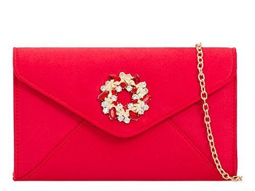 Red Evening Jewel Clutch Diamante Purse Suede Faux Ladies Detail Bag 7qpzn