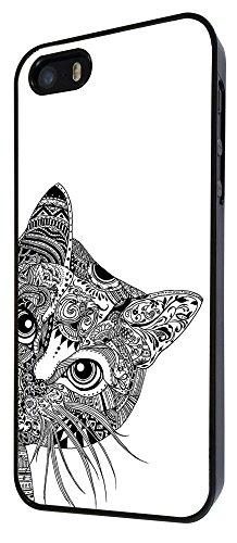 554 - Cool Aztec Cat Cute Funky Design iphone 4 4S Coque Fashion Trend Case Coque Protection Cover plastique et métal - Noir