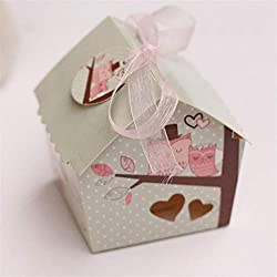 JONARO 12pcs Creative Mini House Style Owl On The Branch Wedding Favors Candy Boxes Chocolate Party Gifts Box