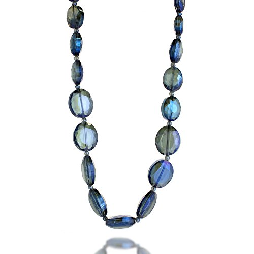 Threaded Blue Large Crystal Glass Bead Long Strand Necklace, 26 inches ()
