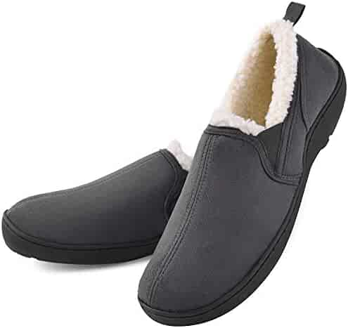 17939331db2570 Men's Moccasin Slippers House Shoes Clogs Micro Suede Memory Foam Wool-Like Plush  Fleece Lined