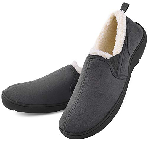 Men's Memory Foam Moccasin Slippers Micro Suede Clogs House Shoes Wool-Like Plush Fleece Lined Anti-Skid Home Indoor/Outdoor Footwear Grey]()