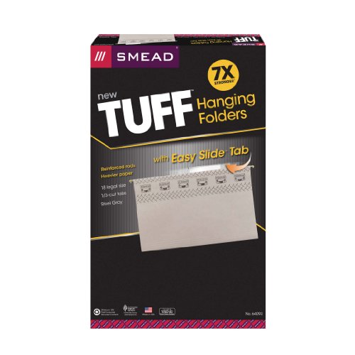 Smead TUFF Hanging File Folder with Easy Slide Tab, 1/3-Cut Sliding Tab, Legal Size, Steel Gray, 18 per Box (64093)