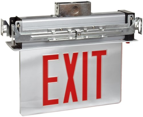 Morris Products LED Exit Sign - Recessed Mount Edge - Red on Clear Panel, White Housing - Compact, Low-Profile Design - Single Sided Legend - Energy Efficient, High Output - 1 Count by Morris Products (Image #1)