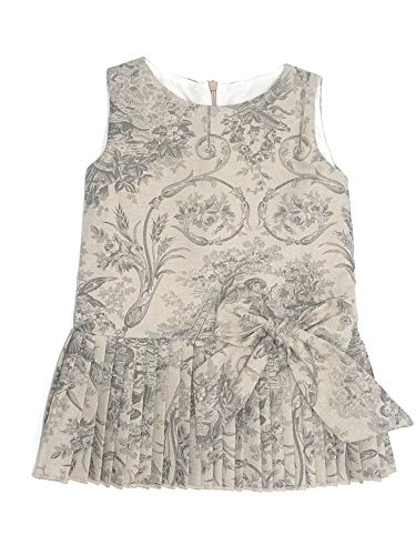 Coquelicot Little Girls Beige Bow Accent Pleated Toile Nicole Baco Dress 3T