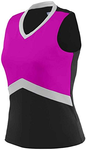 picture of Augusta Sportswear 9201 Girl's Cheerflex Shell Black/Power Pink/Silver XX-Small