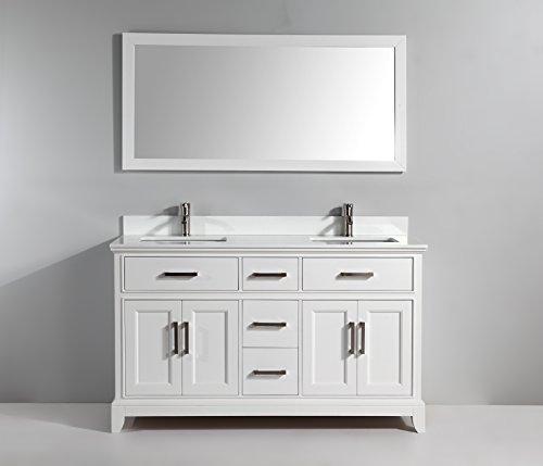 Vanity Art 60 inch Bathroom Vanity Set Super White Phoenix Stone Free Mirror VA1060-DW - Phoenix Stone Set