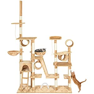 """Best Choice Products Pet Play Palace 96"""" Cat Tree Scratcher Condo Furniture, Beige"""