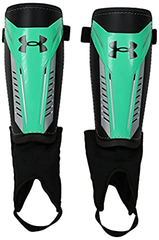 Under Armour Men's Challenge Shin Guards 2.0, Black/Viper Green, Large