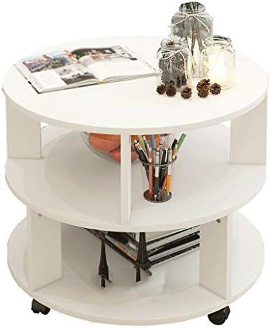 De Goedkoopste Mujin Bijzettafel, ronde salontafel met wiel, 2-laags opslag van hout, theetafel, woonkamer, balkon, kleine woning, sofa (kleur: A, maat: 60 x 60 cm)  mdi1bop