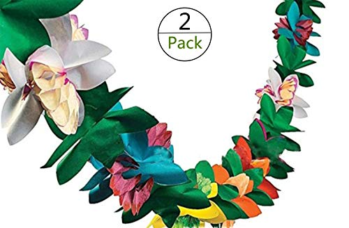 Yesier Hanging Stereoscopic Tissue Paper Flowers Party Streamers for Christmas Party Wedding Decorations Hawaii Theme Style Banner,Set of 2 (Each 10 FT)