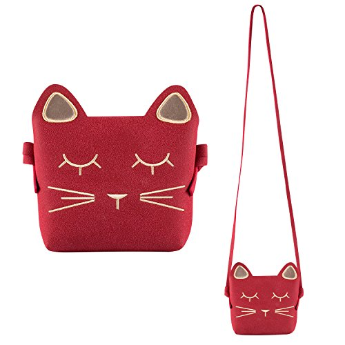 Deoot Little Girls Purses Red Cute Cat Shoulder Crossbody Bag for Kids,Toddler,Girls (Cat Toy Gift Purse)