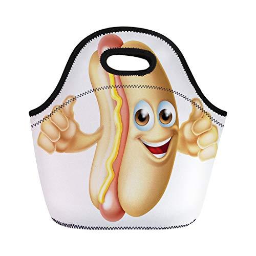 (Semtomn Lunch Bags Bun Sandwich Cartoon Hot Dog Sausage Mascot Bread Character Neoprene Lunch Bag Lunchbox Tote Bag Portable Picnic Bag Cooler Bag)