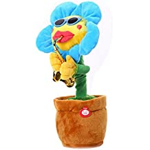 FimKaul Sunflower Plush Potted Funny Toys, 60 Songs Animated Singing and Dancing with Saxophone Electric Toy Flowers Doll For Kids
