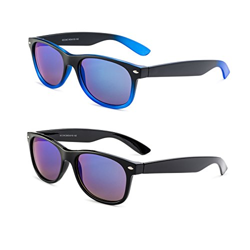 Shiny Black Frame/Blue Mirror Lens and Matte Black and Blue Gradient Frame/ Blue Mirror - Wayfarer Gradient