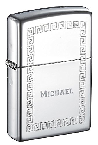 (Personalized Zippo Greek Key Border High Polish Chrome Windproof Lighter with Free Engraving )