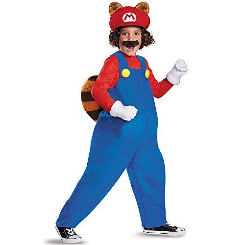 [Disguise Mario Raccoon Deluxe Super Mario Bros. Nintendo Costume, Small/4-6] (Mario Costumes Child)