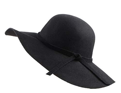 Urban CoCo Women's Foldable Wide Brim Felt Bowler Fedora Floopy Wool Hat (Black) - Felt Floppy Hat