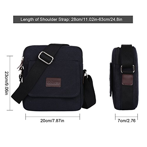 satchel Cross Bag Bag Canvas Shoulder Men's body Eshow Brown Mens bags bag Black Messenger gCq0fzxAw