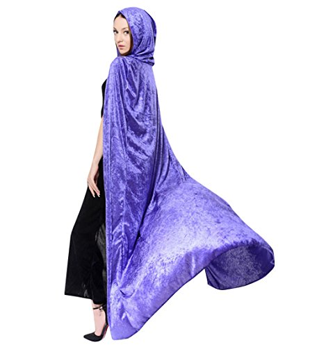 Purple Sorceress Costume (LadyKing Witch Cloak Wizard Cape Dress Up Unisex Cosplay Costumes for Halloween Purple)