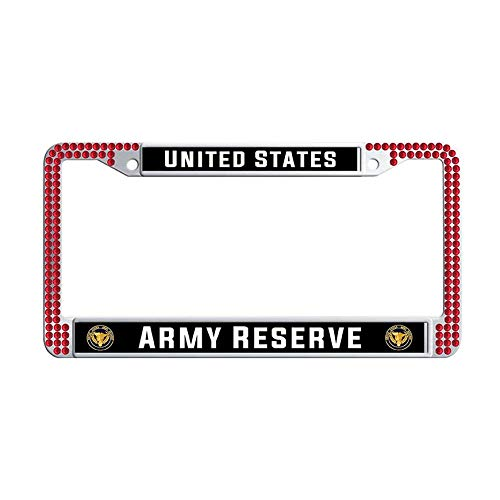 Toanovelty US Army Reserve Glitter Crystal License Plate Frame, Waterproof Red Bling Luxury Car License Plate Holder 6' x 12' in