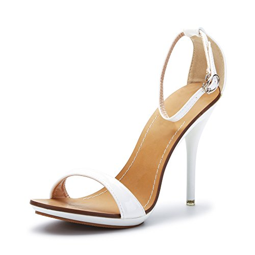 White High Heel Sandals (Women's Classic Dancing Stiletto High Heel Open Toe Ankle Strap Sandals White Size US 8)