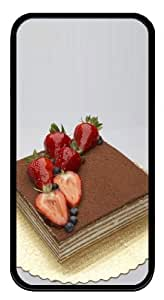 iphone 4 case thin covers Strawberry Cake N003 TPU Black for Apple iPhone 4/4S