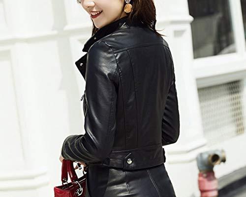 Femenina Delgado la Larga Chaqueta la Moda de Corta de Solapa de Primavera decoración SED la de Abrigo Manga L Manera Negro de Cuerpo la TwPFnXw1xz