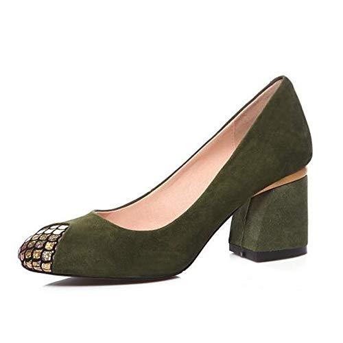 ZHZNVX Zapatos de Mujer Suede Spring Bomba básica Tacones Chunky Heel Black/Red / Green Green