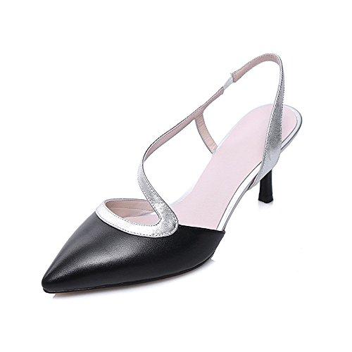 Nine Seven Cuero Moda Puntiagudos Sandalias de Tacón Aguja de Vestir para Mujer negro
