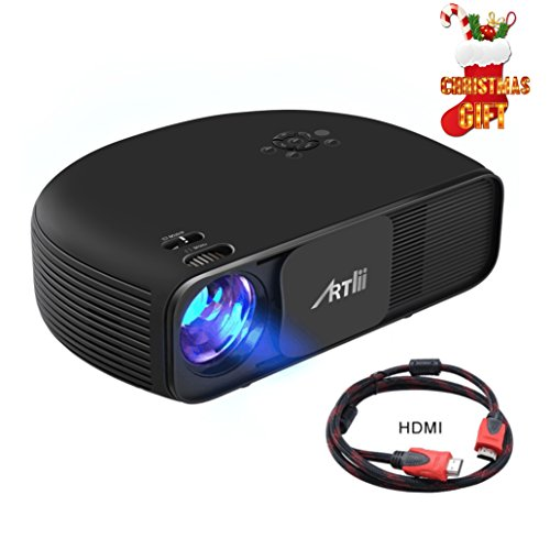 Videoprojector HD,Artlii 720P Movie Overhead iphone Home Cinema Outdoor Projector 3200 Lumens Laptop Smartphone Video Party Projector by Artlii