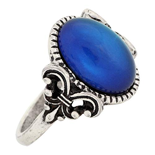 MOJO JEWELRY Gothic Flower Pattern Antique Sterling Silver Plating Oval Stone Color Change Mood Ring MJ-RS008 (9)