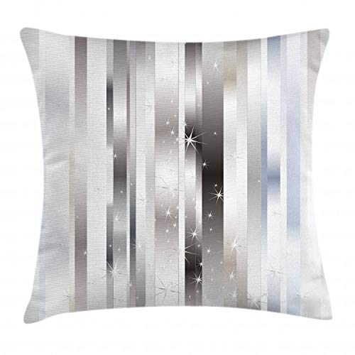 Ambesonne Stripes Throw Pillow Cushion Cover, Modern Composition with Vertical Color Bands and Vibrant Star Figures, Decorative Square Accent Pillow Case, 20 X 20 Inches, Gray Black Pale Blue