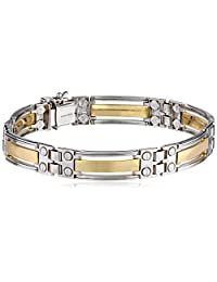 14k Bonded Gold and Silver Men's 9.5mm Bracelet, 8""