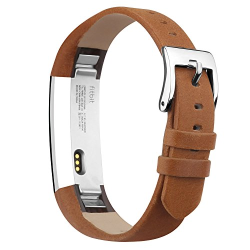 iGK Leather Replacemnt Bands Compatible for Fitbit Alta and Fitbit Alta HR, Genuine Leather Wristbands with Stainless Steel Buckle Brown