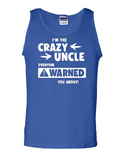 Tee Hunt Crazy Uncle Funny Tank Top Family Holiday Party Gift for Uncle Sleeveless Blue (Family Holiday Clothing)