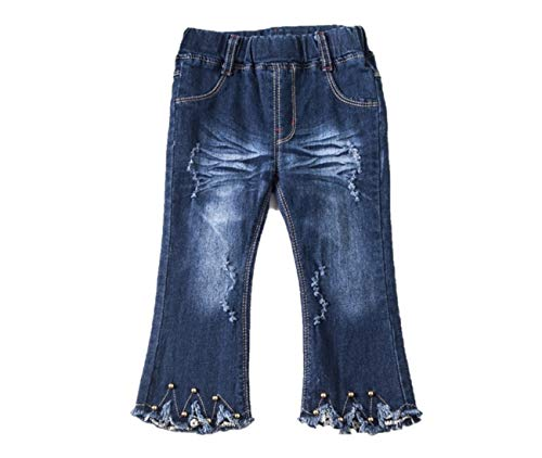 Toddler and Girl Bell Bottom, Flare and Lace Jean Pant, (Distressed 3T)