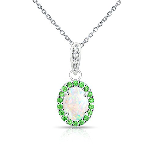 Sterling Silver Simulated White Opal and Simulated Emerald Oval Halo Necklace