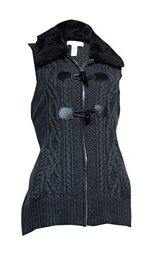 - Charter Club Women's Faux Fur Toggle Knit Vest (M, Charcoal Heather)